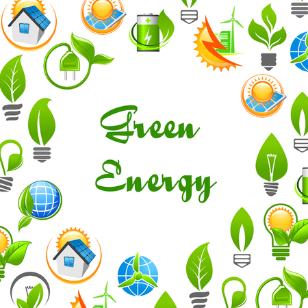 environment protection: Green Energy environment protection poster. Banner with vector icons of green leaves, electric plug, solar battery, globe, house, lamp bulb. Natural energy source elements
