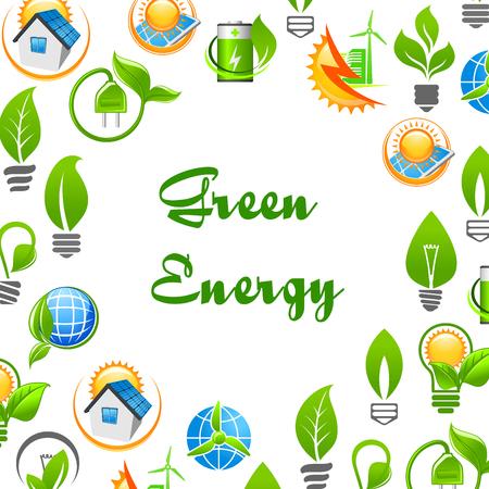 Fahne Mit Vektorikonen Von Grünen Blättern, Elektrischer Stecker,  Solarbatterie