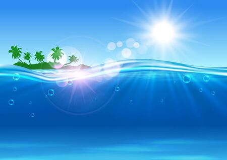 hotel resort: Summer travel vector poster. Ocean, tropical palm island, shining sun beams, water waves. Placard for travel advertisement template, agency, flyer, greeting card, hotel, resort