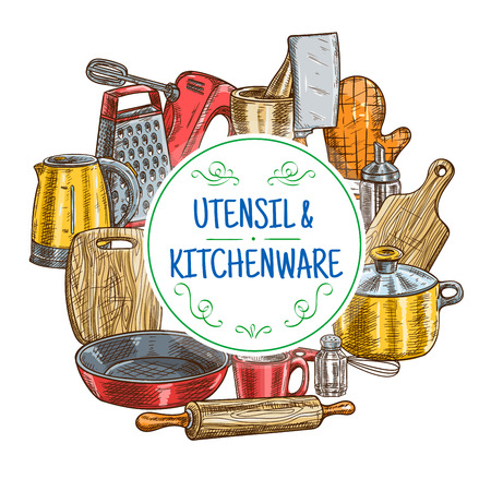 rollingpin: Kitchen utensils sketch. Vector icons of kitchenware appliances kettle, cutting board, glove, saucepan and frying pan, rolling-pin, cup and whisk, mixer, grater, hatchet, cooking glove, mortar
