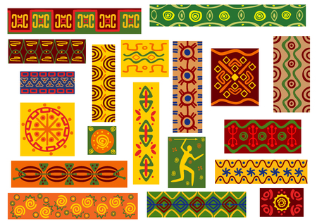 adornment: African tribal ornaments set of ethnic patterns with geometric and floral motif, hunting scene and abstract decorative elements