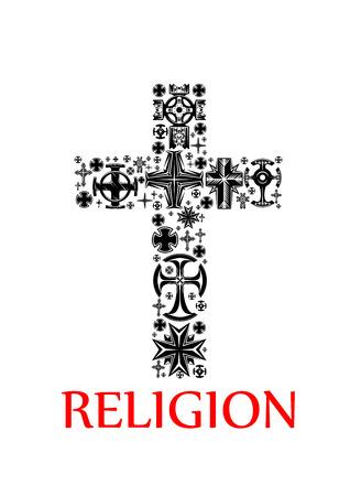 Religione simbolo con silhouette nera di una croce, composto da vari crocifissi religiosi e le croci, ornato da decorazioni celtiche, motivi floreali e motivo traforato Archivio Fotografico - 69215390