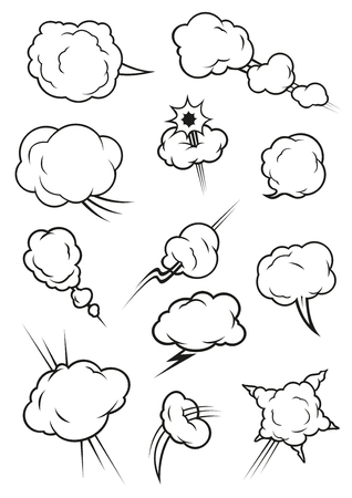 vapor trail: Cartoon cloud icons in comic book style. Isolated cumulus outline clouds. Vector elements of smoke puff, steam vapor, fume clap, explosion pierce, thunderbolt burst, sharp bang