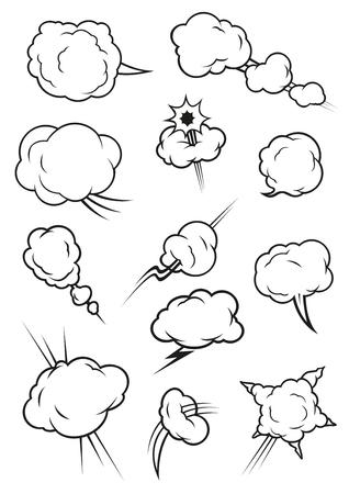 Icone della nube del fumetto in stile fumetto. Isolati nuvole cumulo contorno. Elementi di vettore di sbuffo di fumo, vapore a vapore, clap fumi, esplosione forare, fulmine scoppio, affilato botto Vettoriali