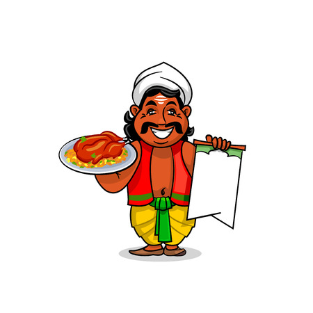 grilled vegetables: Indian cuisine icon. Indian chef cook in national clothing holding menu card template and grilled chicken with curry rice and vegetables on dish. Vector emblem for restaurant signboard, menu, decoration