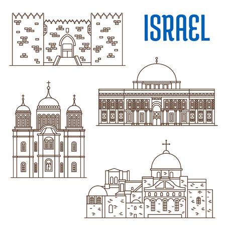 monastery: Historic buildings of Israel. Vector thin line icons of Damascus Gate, Al-Aqsa Mosque, Monastery Ein Karem, Church of the Holy Sepulchre. Israeli showplaces symbols for print, souvenirs, postcards, t-shirts