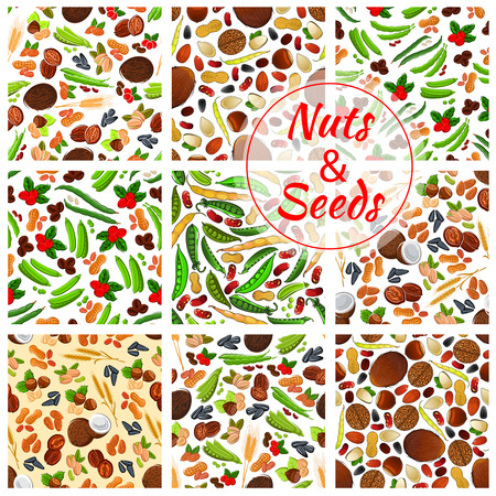 pea pod: Natural nuts and seeds seamless backgrounds. Wallpapers with vector icons of coconut, almond, pistachio and sunflower seeds, pumpkin seeds, coffee beans and peanut, hazelnut, walnut, cranberry, pea pod, bean, wheat