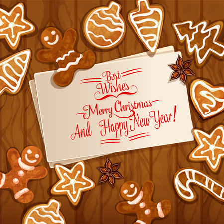 xmas star: Christmas gingerbread man, xmas tree and ball, candy cane, star, heart cookie and anise placed around greeting card with wishes of Merry Christmas. Wooden background with ginger cookie for xmas design Illustration