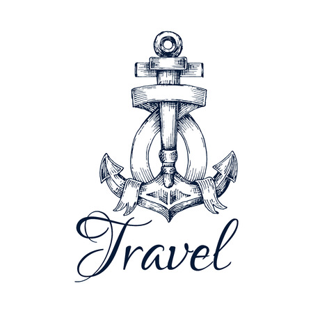 graphic icon: Travel icon. Anchor and ribbon node sketch emblem. Marine and nautical graphic insignia for postcard decoration element, travel agency advertising sign, tattoo