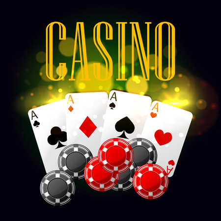 Casino poster with poker cards, gaming checks. design with golden light blurs for casino placard
