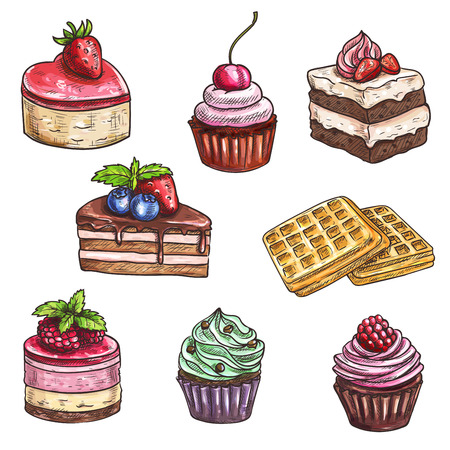 Desserts sketch. Isolated cakes with fruits and berries, chocolate muffin, creamy pie, souffle cupcake, crispy wafers, sweet mousse for dessert menu of bakery shop, cafe, cafeteria, patisserie Illustration