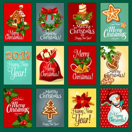 galleta de jengibre: tarjeta de felicitación de navidad y año nuevo con caja de regalo en la bolsa de santas, muñeco de nieve, baya del acebo con la campana, casa de pan de jengibre, pino del árbol de navidad de la guirnalda con el arco rojo, velas, galletas de jengibre y flor de flor de pascua Vectores