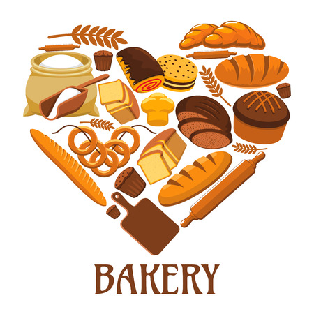 Bakery symbol in shape of heart. Bakery shop sign of wheat and rye bread loaf, bagel, croissant, pretzel, sweet bun, flour sack, chocolate cake Illustration
