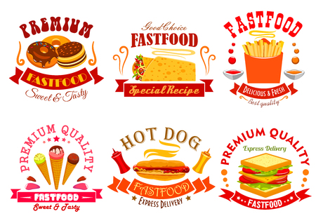 fast meal: Fast food menu of snack meal, drink, dessert icons. Emblem sweet donut, spicy mexican burrito, french fries, ice cream in wafer cone, bacon sandwich. Fast food labels and ribbons set