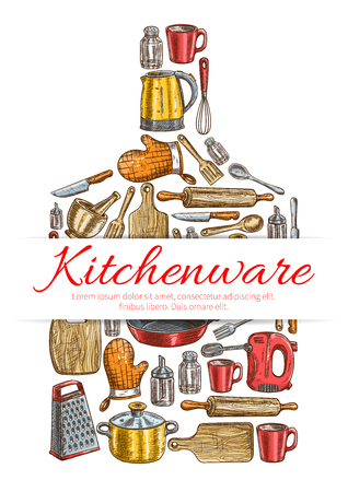 Kitchenware sign. Vecttor symbol of kitchen and cooking utensils in shape of cutting board with electric kettle, saucepan, frying pan, cooking glove, cup, mixer, grater, mortar, cup, salt, pepper, spatula, knife