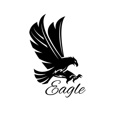 Eagle bird black icon.  heraldic emblem of powerful wild falcon with stretching clutches. Symbol of eagle hawk predator for sport team mascot shield, company badge, guard service, hunting club label Ilustracja