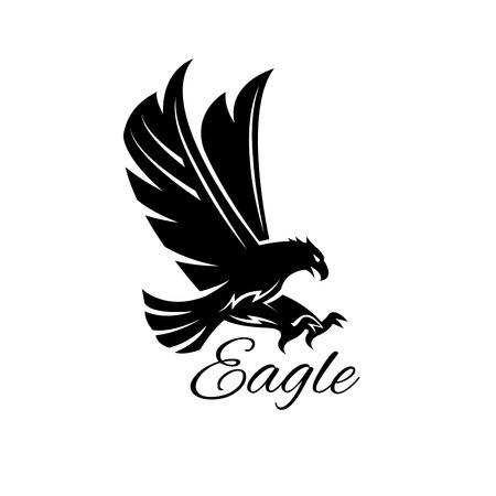 pájaro del águila icono negro. emblema heráldico de la potente halcón salvaje con garras de estiramiento. Símbolo del águila halcón depredador para las personas de deporte escudo mascota, insignia de la compañía, servicio de guardia, caza etiqueta del club