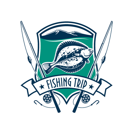 Fishing emblem with icons of fish, fishing rod. sign for fisherman camp sport club, fishing tour trip with marine shield, ribbon, star, flounder fish