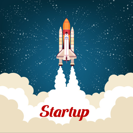 business space: Spaceship rocket startup poster. Business startup concept for new business project launch. Spacecraft flying to open cosmic space