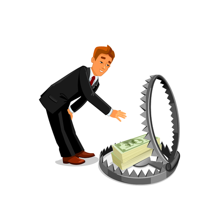 animal trap: Businessman stretching hand to take money from trap. Buinsess methaphor of easy money wanting. Man grabbing money from animal trapping. Dangerous and risky business affair concept Illustration