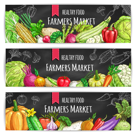 Veggies of farmer market. Vegetarian healthy food banners set. Chalk sketch vegetable pumpkin and cabbage, onion and broccoli, pepper and cucumber, tomato and celery, radish, carrot and beet, potato on blackboard Ilustração