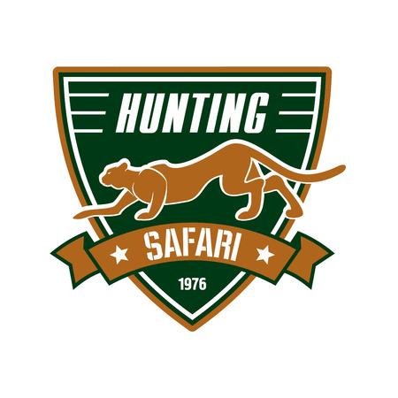 safari animal: Hunting safari club sign. Hunter sport team shield symbol. Safari hunt of wild animal leopard, panther, ribbon, star