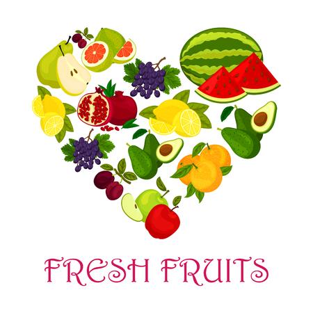 grape fruit: Fresh fruits heart. symbol of watermelon, orange and avocado, pomegranate, plum, grape and lemon, pomelo. Fruit love badge of ripe fruits Illustration