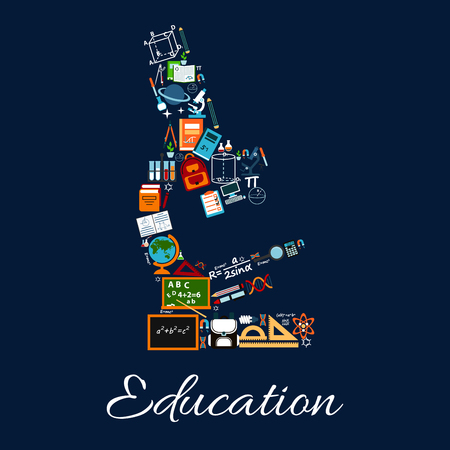 Education concept sign. Microscope symbol of scientific objects, formula and computer, chemistry and math, book, astronomy. Knowledge concept