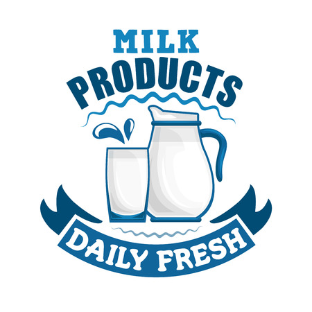 fresh: Milk sign. Daily fresh dairy products badge. symbol of milk pitcher, glass cup with fresh milk drink splash, ribbon