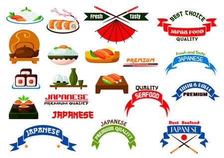 ramen: Japanese cuisine signs set. Sushi restaurant isolated icon. Symbols of sushi, maki, tempura rolls, salmon sashimi, rice, chopsticks. Oriental fast food badges, ribbons for restaurant sign, sushi bar menu card