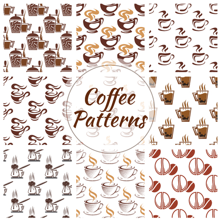coffee icon: Coffee pattern of coffee bean, cup, coffee mill, moka, cappuccino, coffee maker icon. Coffee seamless pattern background for cafe, cafeteria