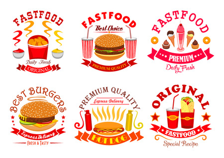 fastfood: Fast food signs, icons set. isolated symbols of cheeseburger, hot dog, hamburger, french fries, burrito, chicken crispy nuggets, soda drink. Fastfood snacks and ice cream dessert badges, ribbons for restaurant menu