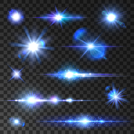stars and symbols: Sar shine set. Sining stars, glittering beams, blue neon light rays with lens flare effect. isolated icons on transparent background for new year, christmas decoration symbols Illustration