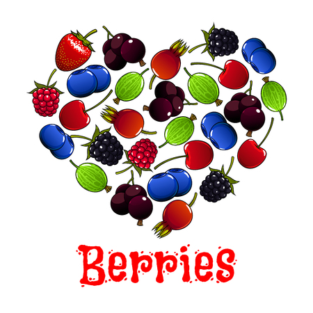 cherries isolated: Berries. heart shape symbol of cherry, strawberry, raspberry and blueberry, gooseberry, dog-rose berry, blackcurrant Illustration