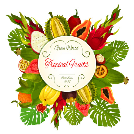 Tropical fruits. exotic fruit icons. Fruit round emblem of durian, dragon fruit, guava, lychee, feijoa, passion fruit maracuya, figs, rambutan, mangosteen, orange, papaya. Bunch of juicy fruits with palm leaves Illustration