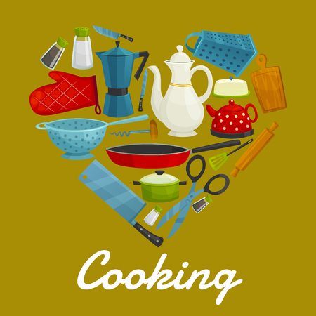 Cooking sign of kitchenware flat icons. Heart symbol of isolated kitchen utensils coffee maker, grater, cooking glove, knife, hatchet, scissors, tea pot, sauce and frying pan, spatula, pitcher, cuting board, rolling pin, salt, pepper Illustration
