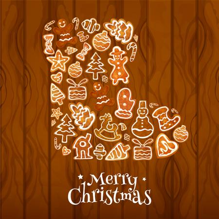 galleta de jengibre: Navidad calcetín símbolo compuesto por el hombre de pan de jengibre, casa, chuchería navidad y el árbol, caja de regalo, bastón de caramelo, estrella, corazón, arco y caballito de madera. galletas de jengibre con glaseado para la Navidad diseño festivo