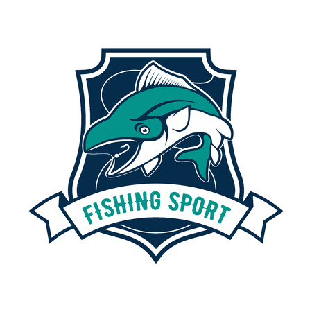 rod sign: Fishing sport shield symbol.  icon of tuna fish, fishing rod, hook bait. Sign for fisherman camp sport club, fishing tour trip badge