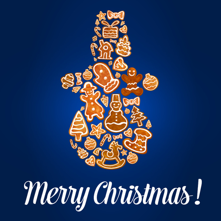 xmas star: Snowman made up of Christmas gingerbread cookie in a shape of gift box, xmas tree and sock, candy cane, bauble, house, man, star, heart and rocking horse. Merry Christmas greeting card design