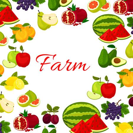 grape fruit: Fruits poster. Fresh farm watermelon, orange, avocado, pomegranate, plum, grape, lemon, pomelo fruit icons in round frame for kitchen, store decoration design Illustration