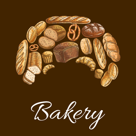Bakery shop sign of bread icons. Wheat and rye bread loaf, bagel, croissant, pretzel, sweet bun in shape of croissant. Illustration