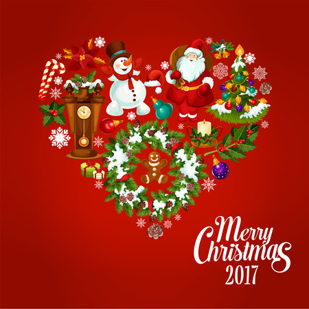 heart created of christmas tree with lights bauble and gift box santa claus - When Was Christmas Created
