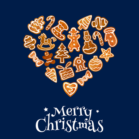 Weihnachtsplätzchen Herz mit süßen Lebkuchenmann, Stern, Geschenk-Box, Weihnachten Baum, Spielzeug, Zuckerstange, Schneemann, Haus, Socke, Bogen und Schaukelpferd mit Zuckerguss Dekoration. Grußkartendesign