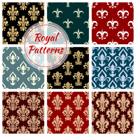 green and black: Royal flowery patterns set. Floral seamless decoration background with ornate flower ornament. Damask decorative luxury tile