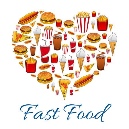 Fast food love symbol. Vektoros illusztráció