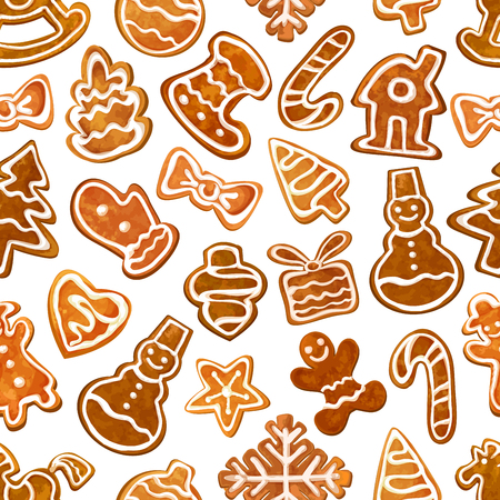 glazed: Christmas gingerbread seamless pattern with glazed ginger cookie xmas tree, star, man, gift box, heart, snowman, candy cane, house, bauble, snowflake, stocking sock and mitten