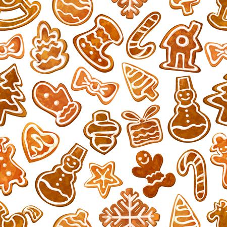 galleta de jengibre: Modelo inconsútil de la Navidad del pan de jengibre con jengibre esmaltado de la galleta del árbol de Navidad, estrellas, hombre, caja de regalo, corazón, muñeco de nieve, bastón de caramelo, casa, chuchería, copo de nieve, calcetín y manopla