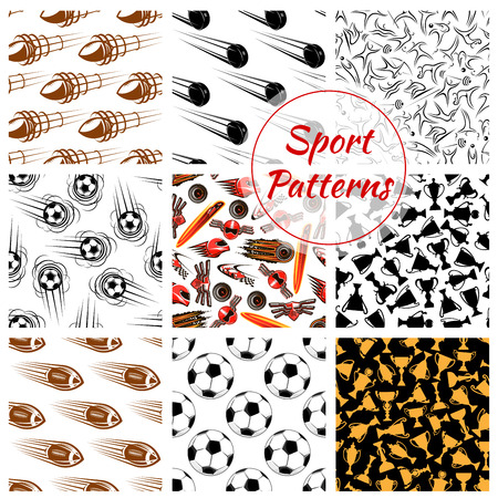 game icon: Sport seamless patterns set of balls, sports items.