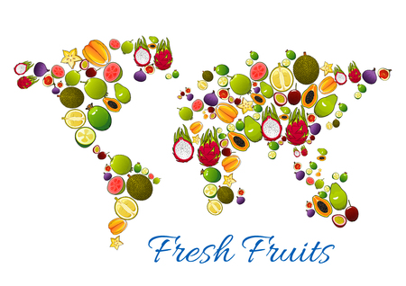 Fresh fruits icons in shape of fruit world map kiwi