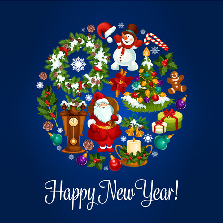 pine wreath: New Year round poster of Christmas tree with ball, gift box, Santa Claus, snowman, holly berry and pine wreath, candy, gingerbread man, santas hat, bell, candle, star, snowflake, poinsettia and clock Illustration